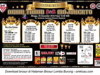 Brosur Festival Kicau Akhir Tahun BnR Mojokerto, 25 Desember 2016