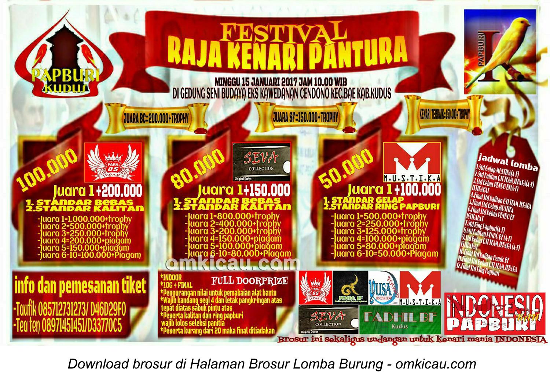 Brosur Festival Raja Kenari Pantura-Papburi Kudus, 15 Januari 2017