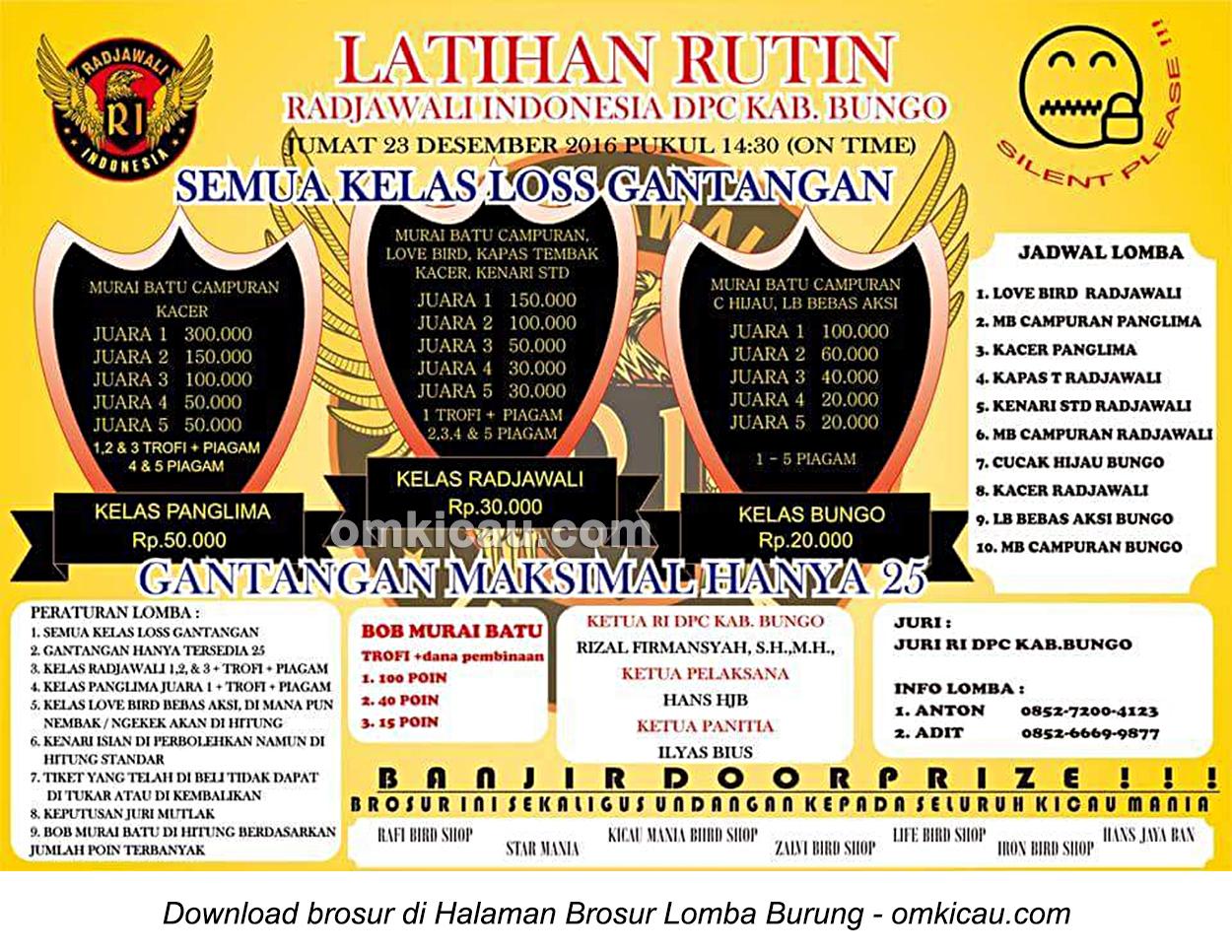Brosur Latihan Rutin Radjawali Indonesia DPC Kabupaten Bungo, 23 Desember 2016