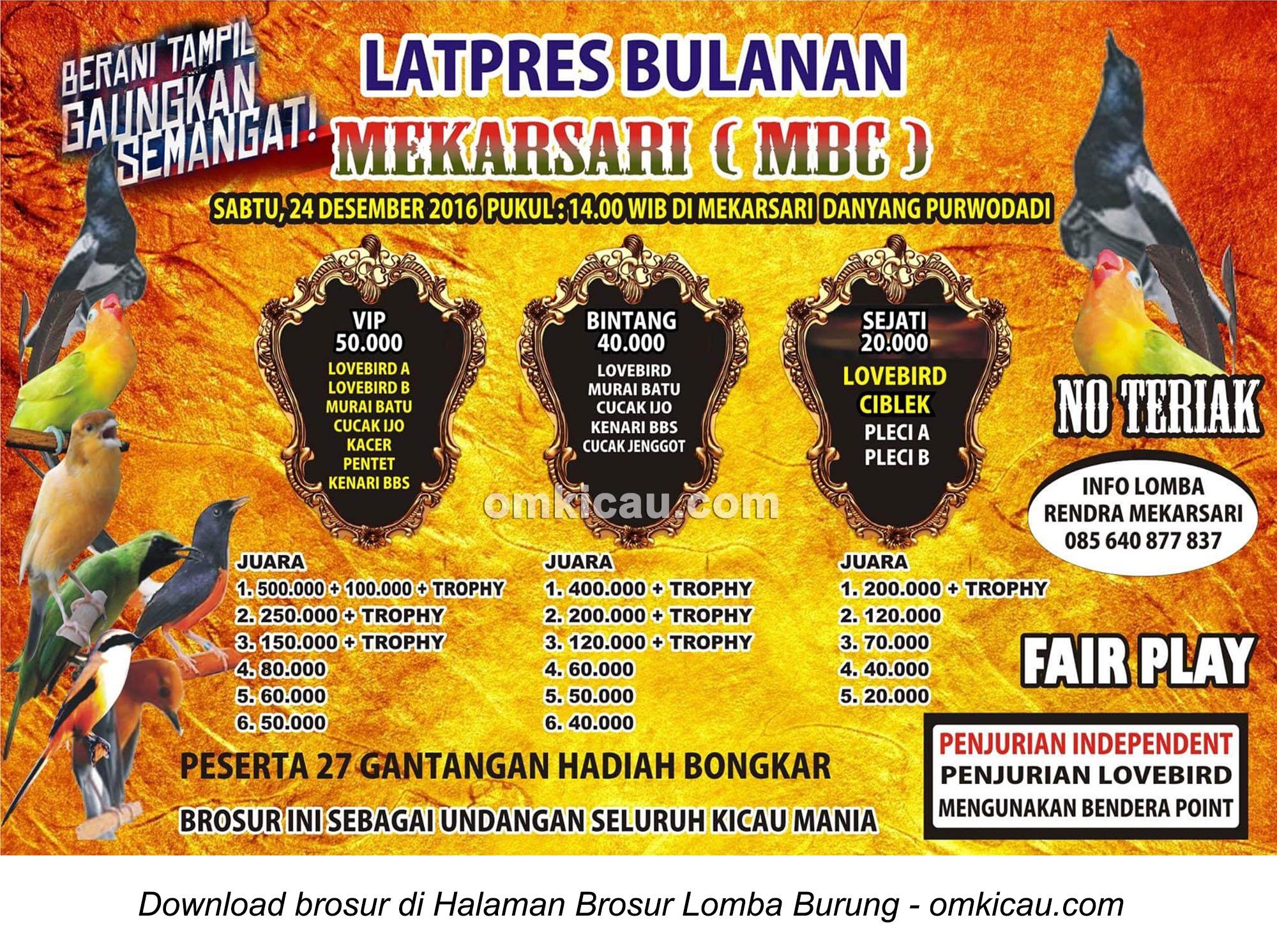 Brosur Latpres Bulanan Mekarsari (MBC), Purwodadi, 24 Desember 2016