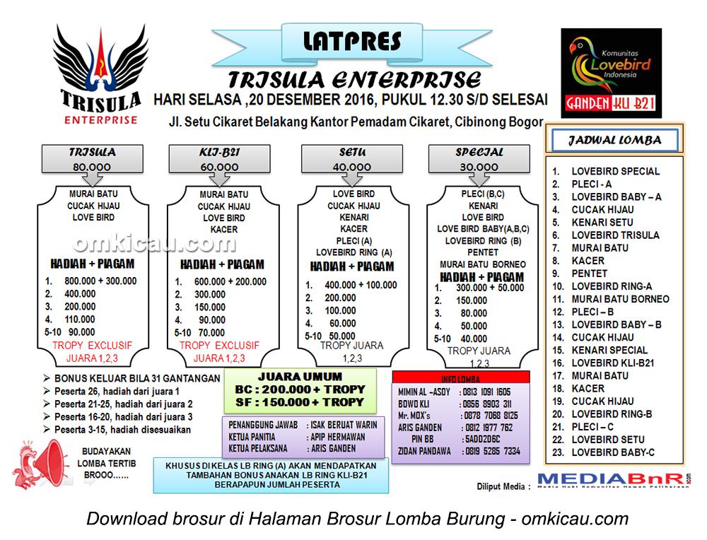 Brosur Latpres Burung Berkicau Trisula Enterprise, Bogor, 20 Desember 2016