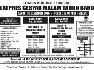 Brosur Latpres Gebyar Malam Tahun Baru Penny Jaya SF, Jogja, 31 Desember 2016