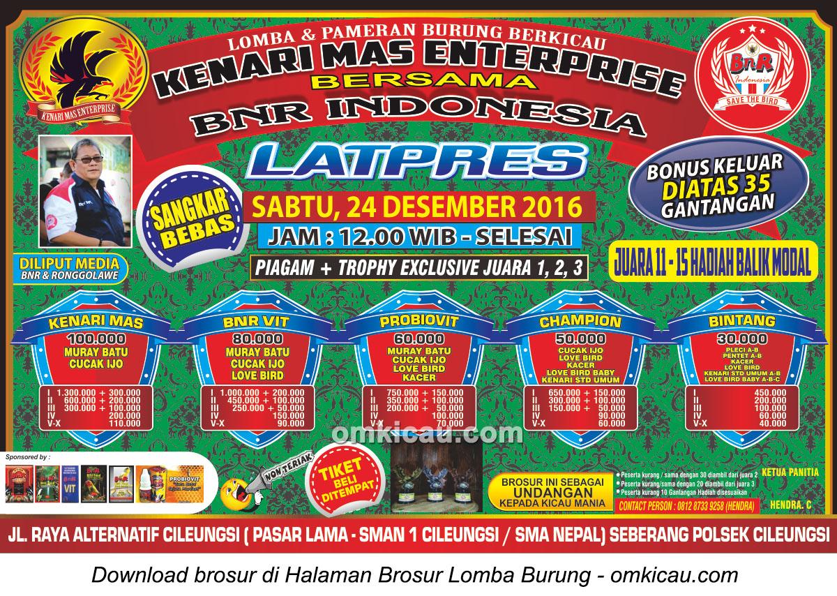 Brosur Latpres Kenari Mas Enterprise bersama BnR Indonesia, Cileungsi, 24 Desember 2016