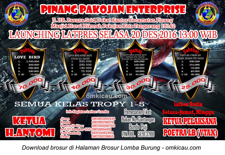 Brosur Launching Latpres Selasa Pinang Pakojan Enterprise, Tangerang, 20 Desember 2016