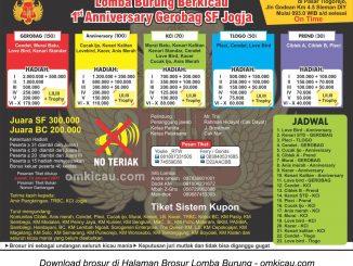 Brosur Lomba Burung Berkicau 1st Anniversary Gerobag SF, Jogja, 15 Januari 2017