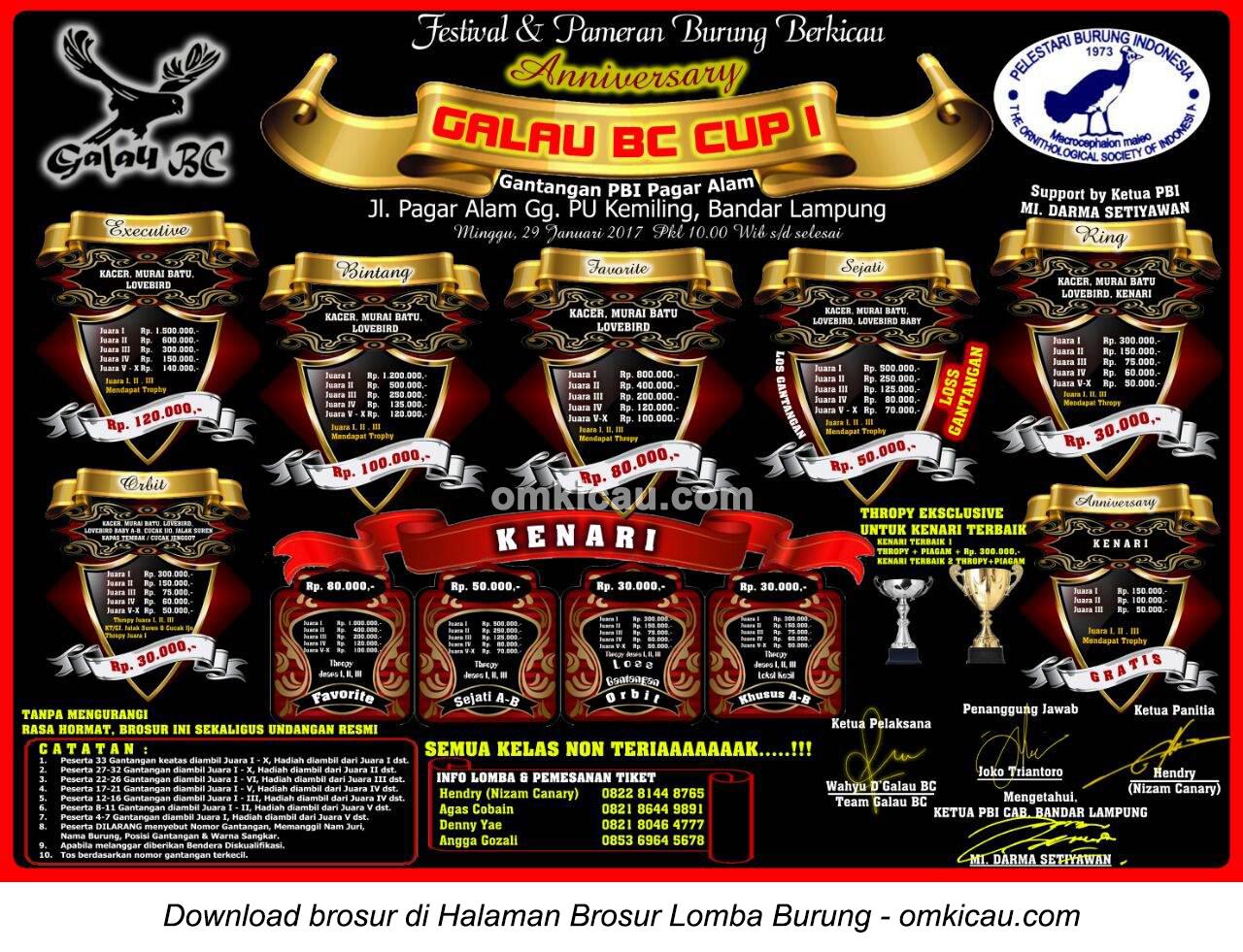 Brosur Lomba Burung Berkicau Anniversary Galau BC Cup I, Bandarlampung, 29 Januari 2017