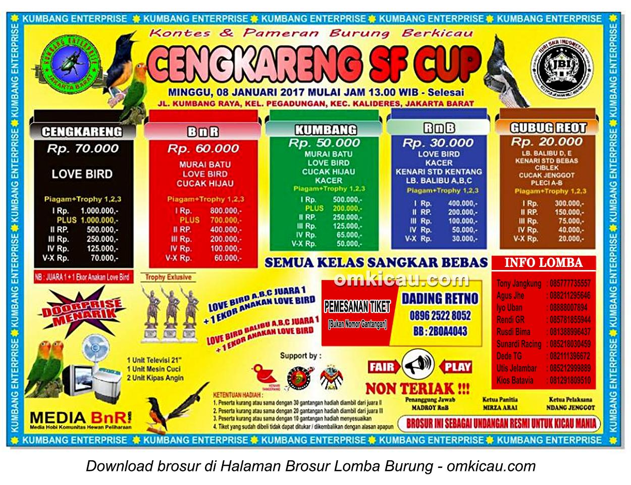 Brosur Lomba Burung Berkicau Cengkareng SF Cup, Jakarta Barat, 8 Januari 2017