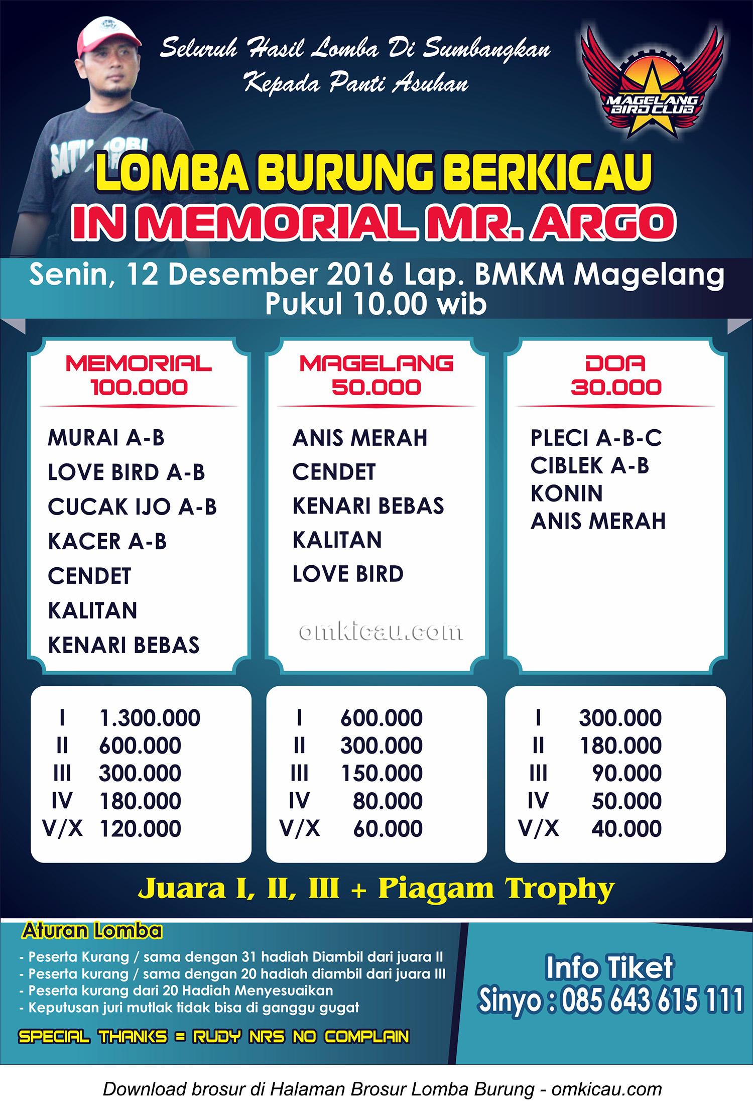Brosur Lomba Burung Berkicau In Memorial Mr Argo, Magelang, 12 Desember 2016