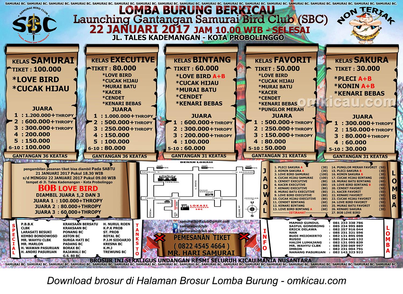 Brosur Lomba Burung Berkicau Launching Gantangan Samurai BC, Kota Probolinggo, 22 Januari 2017
