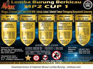Brosur Lomba Burung Berkicau MP2 Cup 1, Semarang, 5 Februari 2017