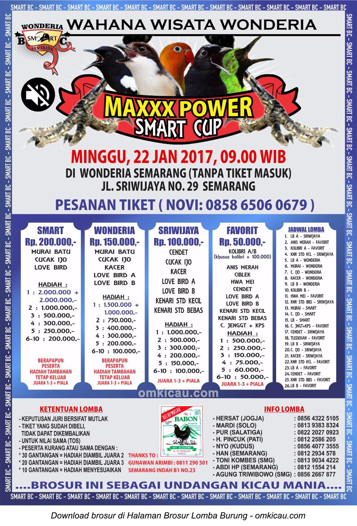 Brosur Lomba Burung Berkicau Maxxx Power Smart Cup, Semarang, 22 Januari 2017