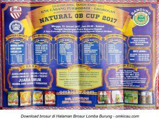 Brosur Lomba Burung Berkicau Natural OB Cup, Grobogan, 15 Januari 2017