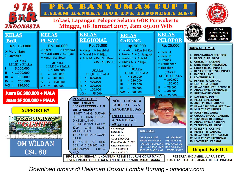 Brosur Lomba Burung Berkicau Pra Banyumas Cup I, Purwokerto, 8 Januari 2017