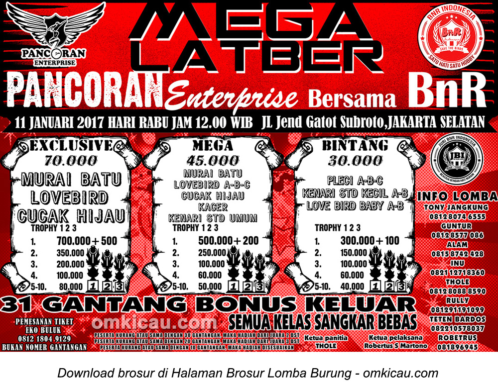 Brosur Mega Latber Pancoran Enterprise bersama BnR, Jakarta Selatan, 11 Januari 2017