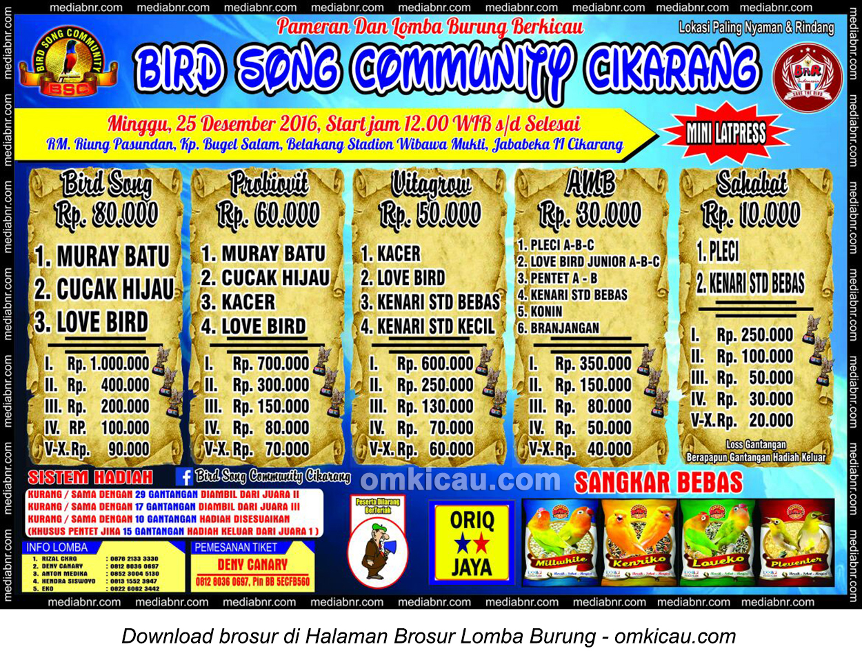 Brosur Mini Latpres Burung Berkicau Bird Song Community Cikarang, 25 Desember 2016