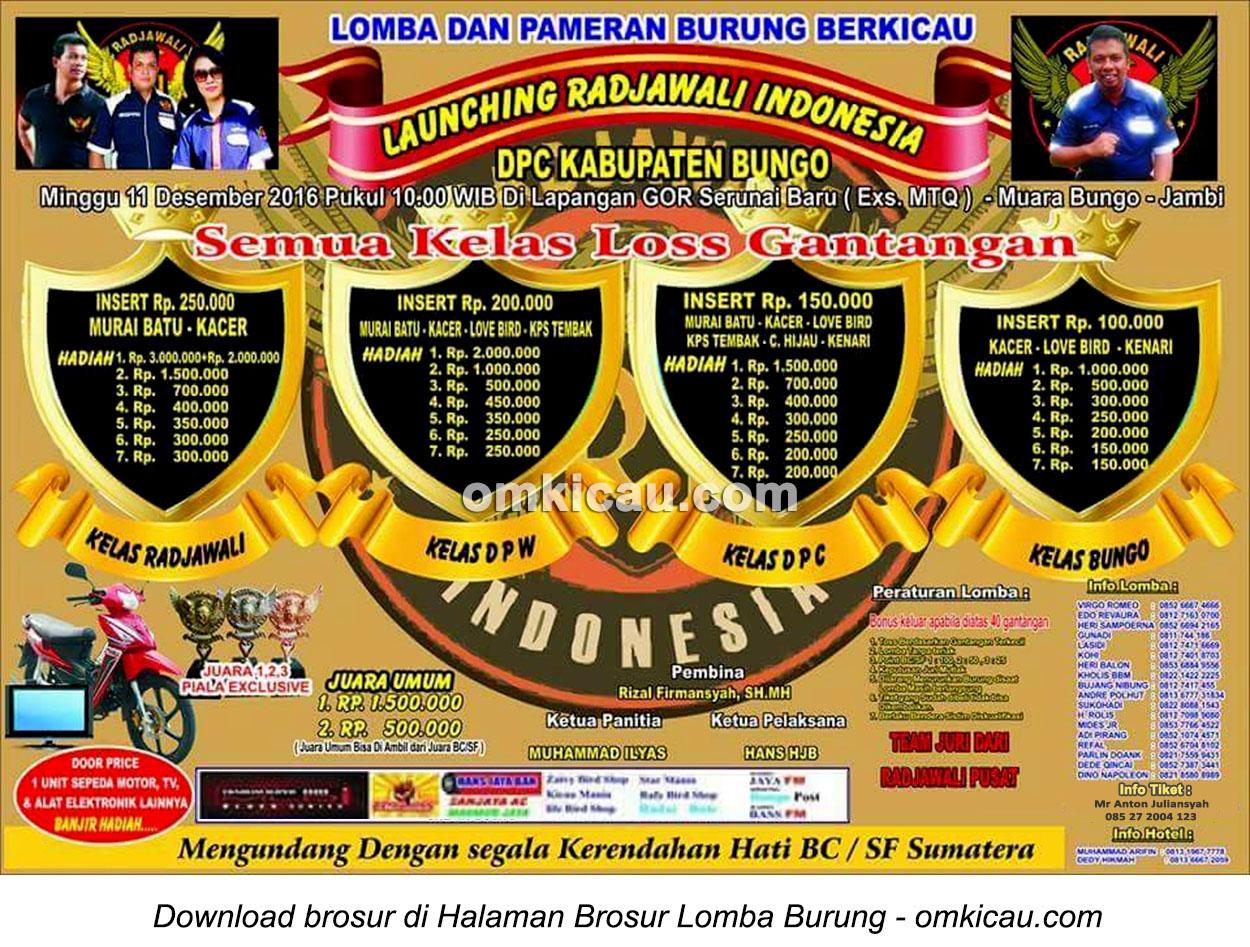 Brosur Revisi Lomba Burung Berkicau Launching Radjawali Indonesia DPC Kabupaten Bungo, 11 Desember 2016