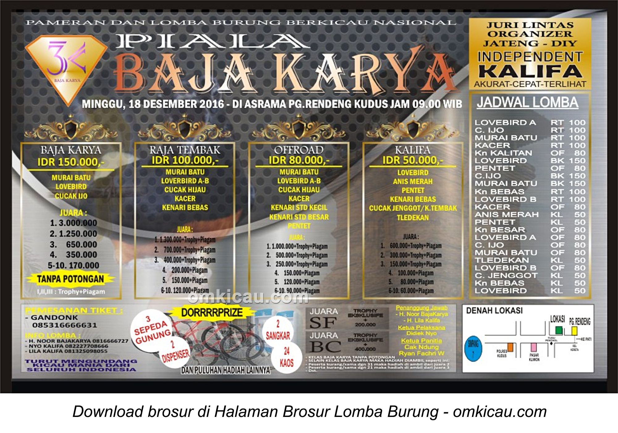 Brosur Terbaru Lomba Burung Berkicau Piala Baja Karya, Kudus, 18 Desember 2016