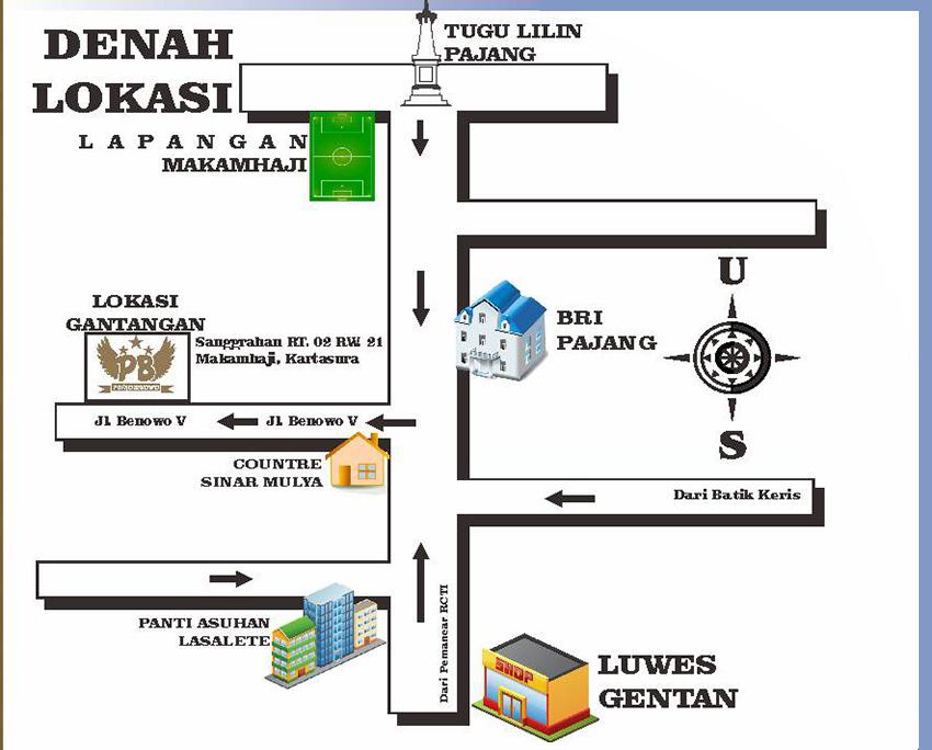 Denah Lokasi Gantangan BnR Putro Benowo Kartasura