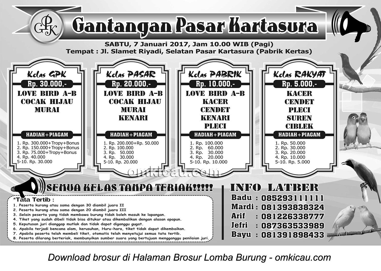 Brosur Latber Burung Berkicau Gantangan Pasar Kartasura, 7 Januari 2017