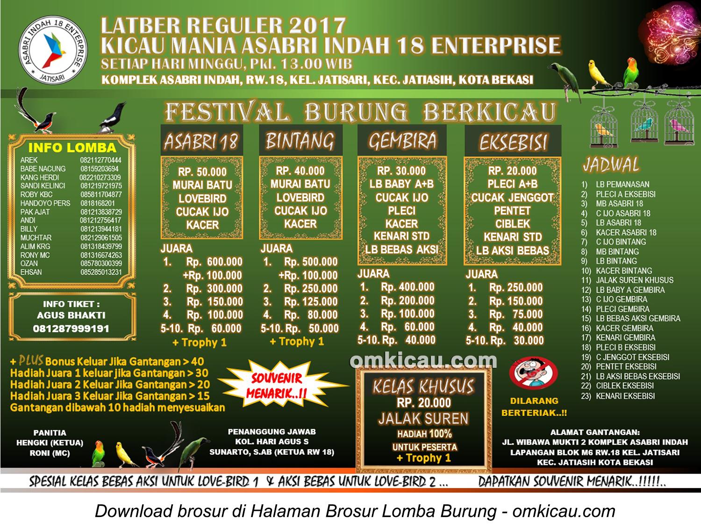 Brosur Latber Reguler Kicau Mania Asabri Indah 18 Enterprise, Kota Bekasi, setiap Minggu siang