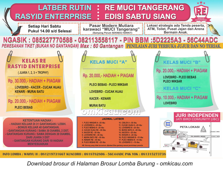 Brosur Latber Rutin RE Muci Tangerang - Edisi Sabtu Siang