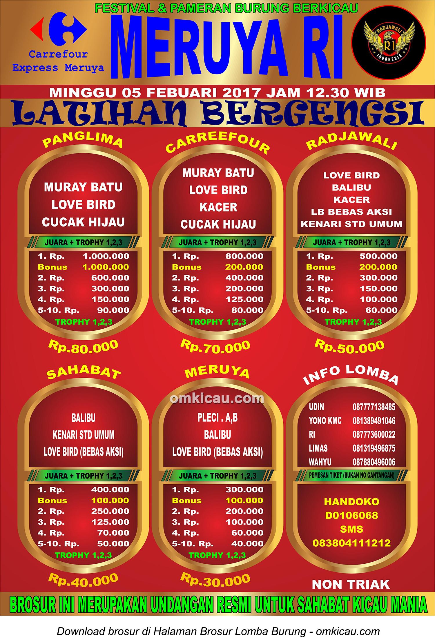 Brosur Latihan Bergengsi Meruya RI, Jakarta Barat, 5 Februari 2017