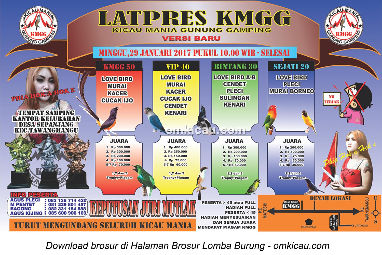 Brosur Latpres KMGG (Kicau Mania Gunung Gamping), Tawangmangu, 29 Januari 2017