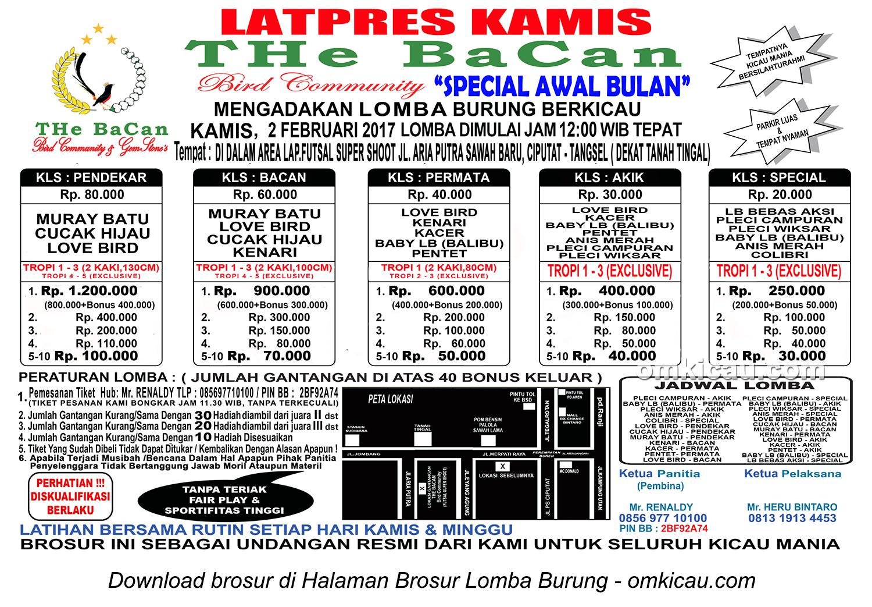 Brosur Latpres Kamis THe BaCan, Tangerang Selatan, 2 Februari 2017