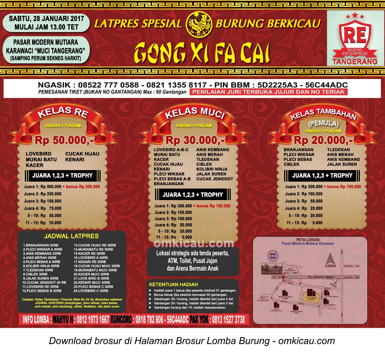 Brosur Latpres Spesial Gong Xi Fa Cai RE Muci, Tangerang, 28 Januari 2017