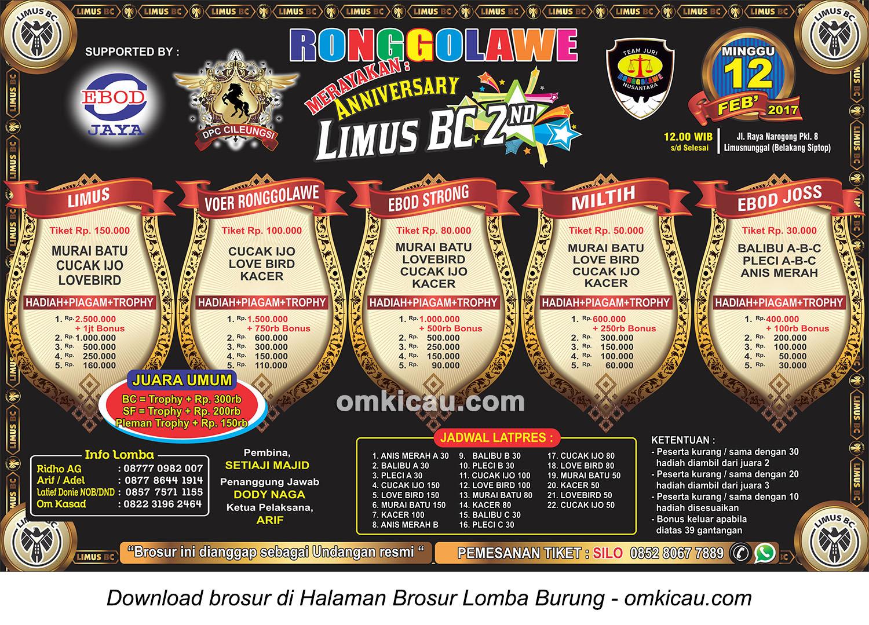 Brosur Lomba Burung Berkicau 2nd Anniversary Limus BC, Bogor, 12 Februari 2017
