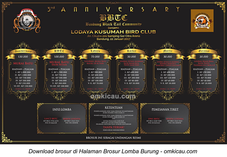 Brosur Lomba Burung Berkicau 3rd Anniversary BBTC bersama Lodaya Kusumah BC, Bandung, 22 Januari 2017