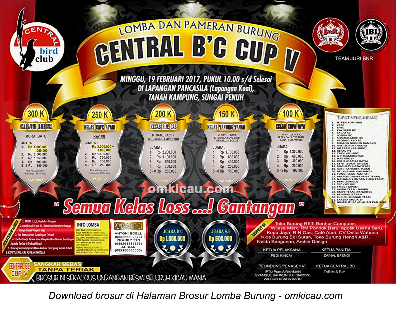 Brosur Lomba Burung Berkicau Central BC Cup V, Sungai Penuh, 19 Februari 2017