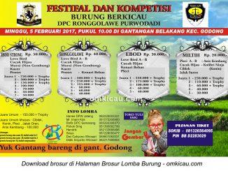 Brosur Lomba Burung Berkicau DPC Ronggolawe Purwodadi, 5 Februari 2017