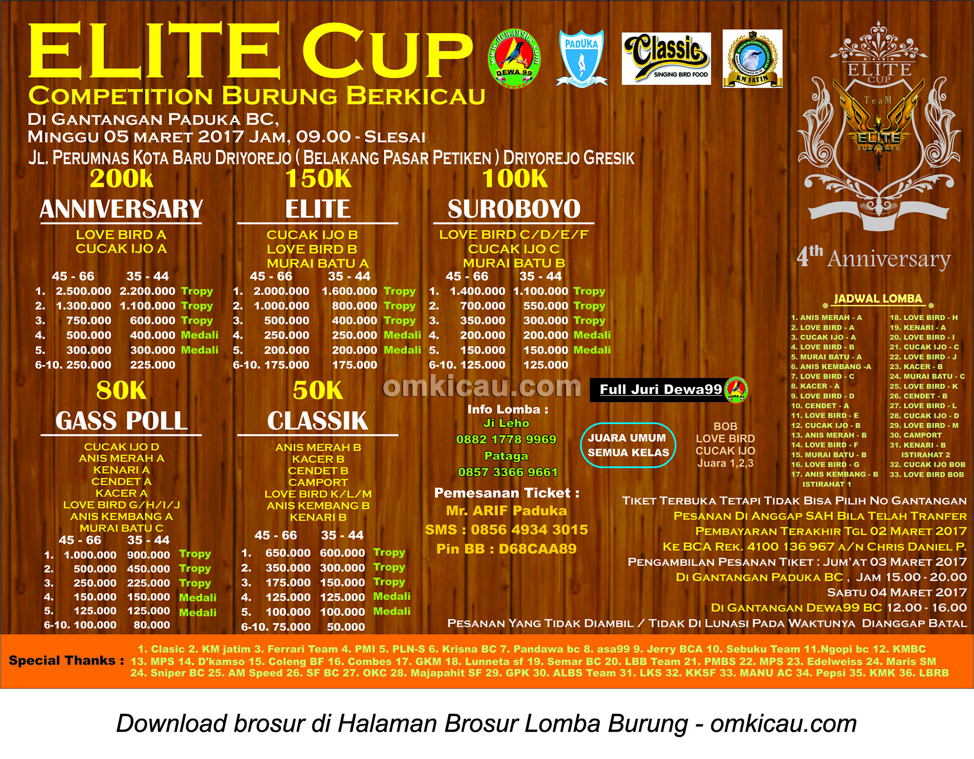Brosur Lomba Burung Berkicau Elite Cup, Gresik, 5 Maret 2017