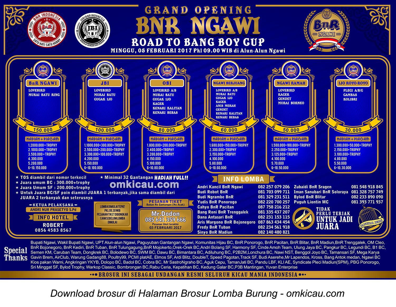 Brosur Lomba Burung Berkicau Grand Opening BnR Ngawi, 5 Februari 2017