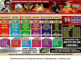 Brosur Lomba Burung Berkicau Launching Radjawali Indonesia Weleri-Kendal, 26 Februari 2017