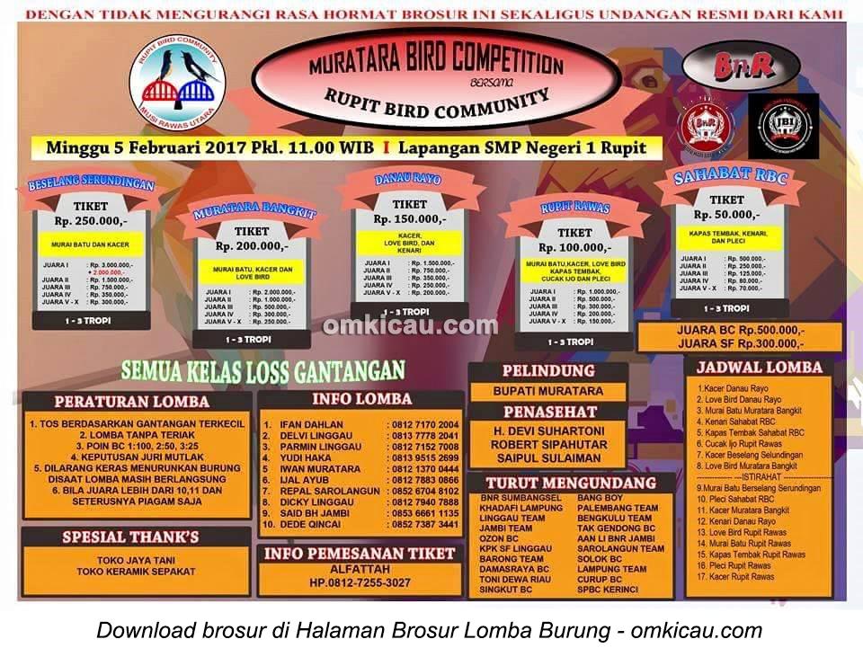 Brosur Lomba Burung Berkicau Muratara Bird Competition bersama Rupit BC, Musi Rawas Utara, 5 Februari 2017