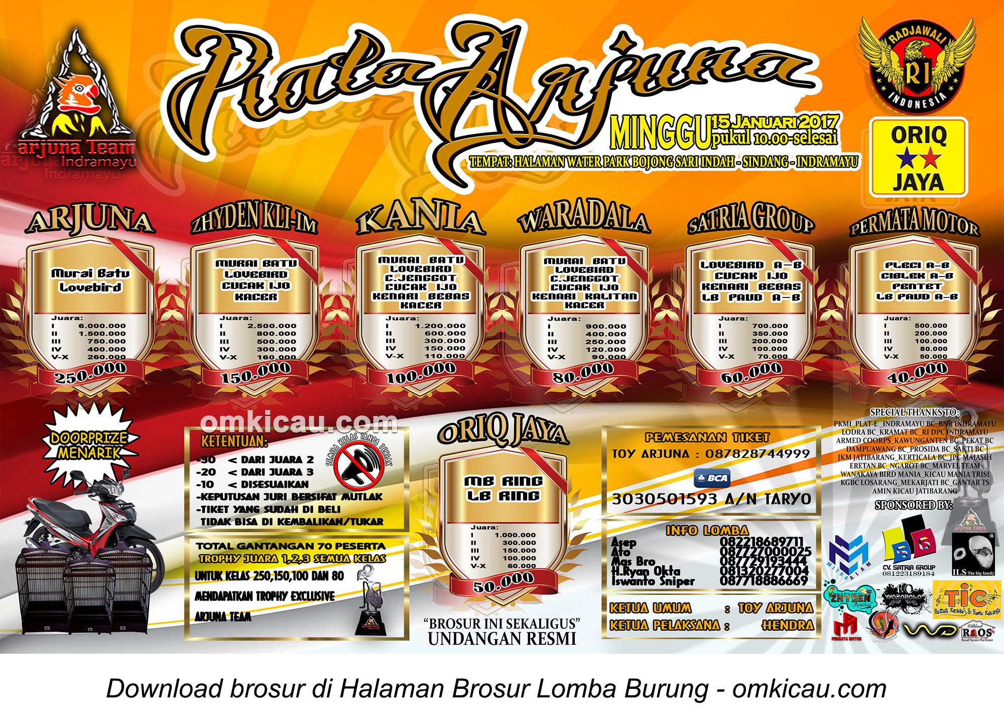 Brosur Lomba Burung Berkicau Piala Arjuna, Indramayu, 15 Januari 2017