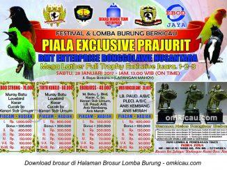 Brosur Lomba Burung Berkicau Piala Exclusive Prajurit, Bekasi, 28 Januari 2017