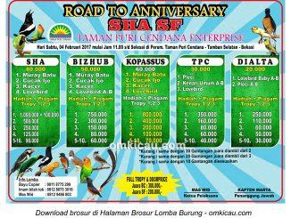 Brosur Lomba Burung Berkicau Road to Anniversary SHA SF, Bekasi, 4 Februari 2017