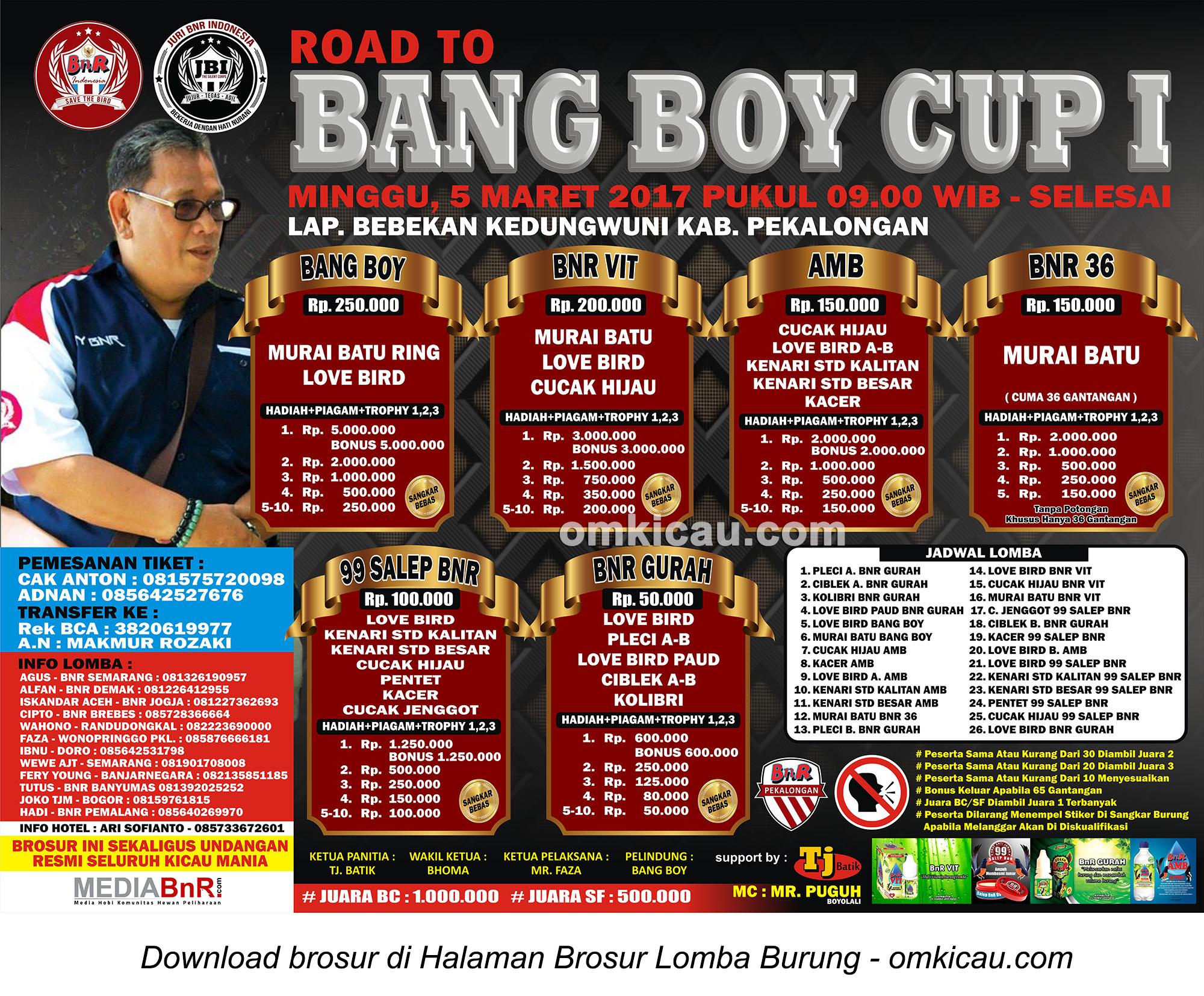 Brosur Lomba Burung Berkicau Road to Bang Boy Cup I, Pekalongan, 5 Maret 2017