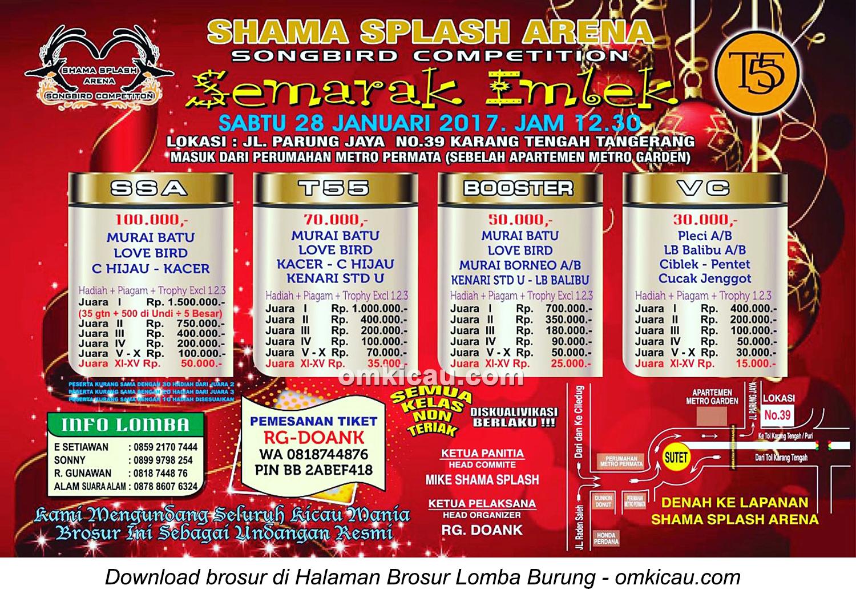 Brosur Lomba Burung Berkicau Semarak Imlek Shama Splash Arena, Tangerang, 28 Januari 2017