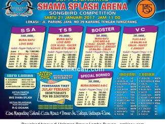 Brosur Lomba Burung Berkicau Soft Launching Shama Splash Arena, Tangerang, 21 Januari 2017