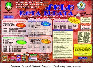 Brosur Lomba Burung Berkicau Solo Kota Budaya, Solo, 19 Februari 2017