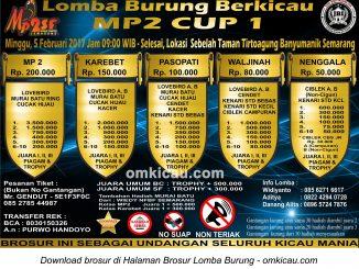 Brosur Revisi Lomba Burung Berkicau MP2 Cup 1, Semarang, 5 Februari 2017