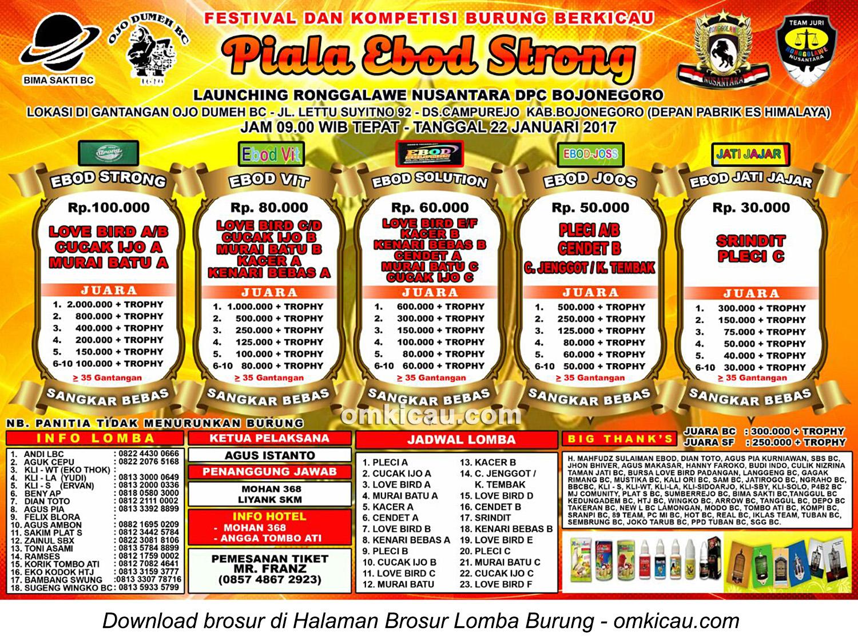 Brosur Revisi Lomba Burung Berkicau Piala Ebod Strong, Bojonegoro, 22 Januari 2017