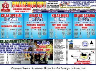 Brosur Revisi Lomba Burung Berkicau Piala RE Muci I, Tangerang, 8 Januari 2017