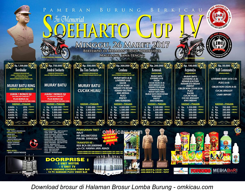 Brosur Terbaru Lomba Burung Berkicau In Memorial Soeharto Cup IV, Borobudur, 26 Maret 2017