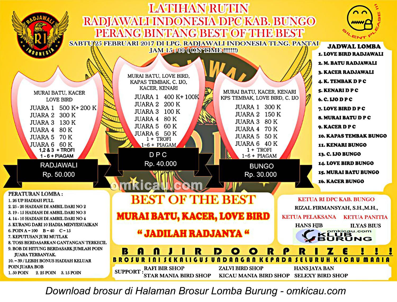 Brosur Latihan Rutin Radjawali Indonesia DPC Kabupaten Bungo, 25 Februari 2017