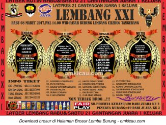 Brosur Latpres Burung Berkicau Lembang XXI, Tangerang, 8 Maret 2017